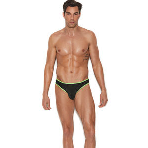Men's thong with neon green trim
